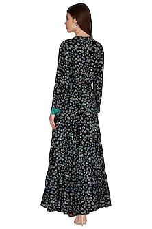 Black Printed Maxi Dress by Renge