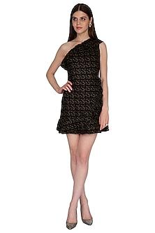 Black & Gold Ruffled Mini Dress by Renge