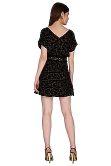 Black Embroidered Mini Dress by Renge