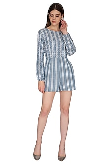 Blue Embroidered & Striped Romper by Renge