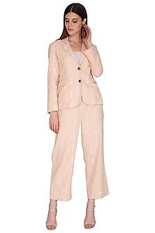 Peach Ruffled Trouser Pants by Renge