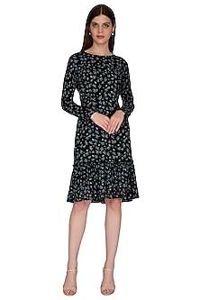 Black Printed Midi Dress by Renge