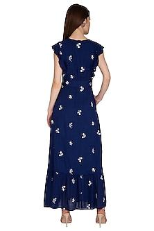 Blue Frill Maxi Dress by Renge