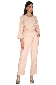 Peach Embroidered Jumpsuit by Renge