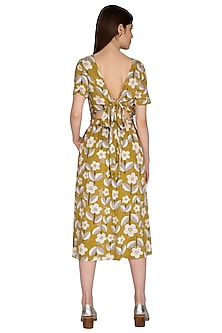 Mustard Yellow Embroidered Midi Dress by Renge