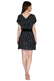 Black Printed Mini Dress by Renge