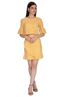 Yellow Embroidered Top by Renge
