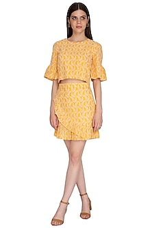 Yellow Embroidered Skirt by Renge