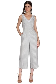 Off White & Navy Blue Striped Jumpsuit by Renge