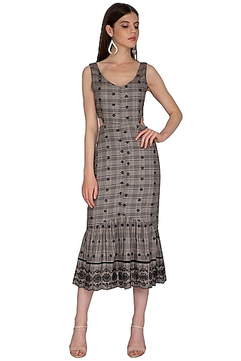 Black Checkered Embroidered Midi Dress by Renge