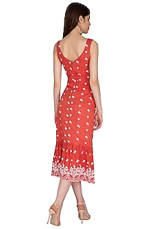 Red Embroidered Polka Dot Dress by Renge