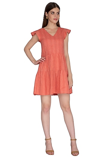 Reddish Orange Mini Dress by Renge