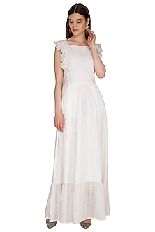 White Embroidered Maxi Dress by Renge