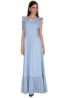 Blue Embroidered Maxi Dress by Renge