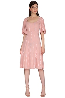 Melon Rose Pink Embroidered Dress by Renge
