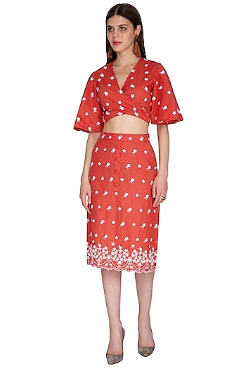 Red Embroidered Skirt by Renge