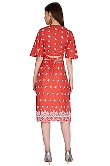 Red Embroidered Dress by Renge