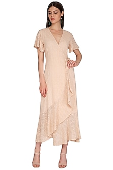Peach Embroidered Wrap Dress by Renge