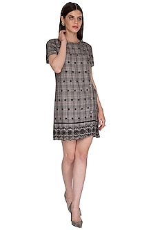 Black Checkered Embroidered Dress by Renge