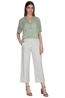 Off White Cropped Trouser Pants by Renge