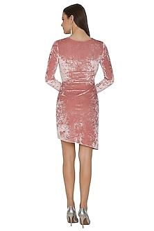 Pink Detailed Velvet Dress by Renge