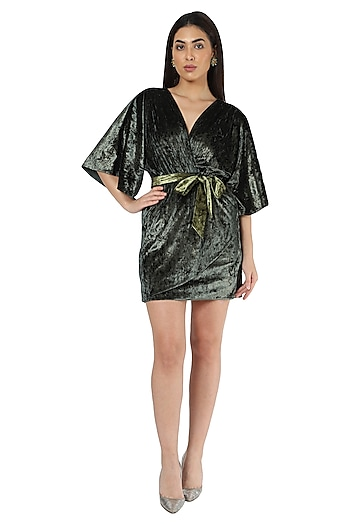 Green Metallic Velvet Dress by Renge