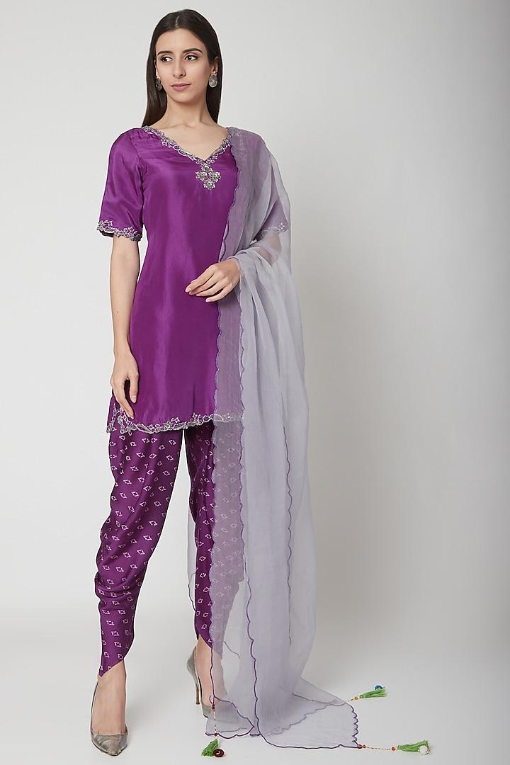 Violet Embroidered & Printed Kurta Set by Ruchira Nangalia