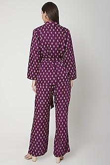 Violet Printed Jacket With Pants & Belt by Ruchira Nangalia