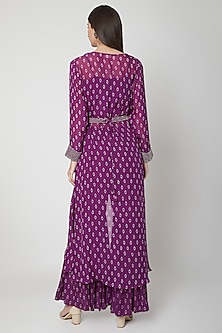 Violet Printed & Embroidered Sharara Set by Ruchira Nangalia