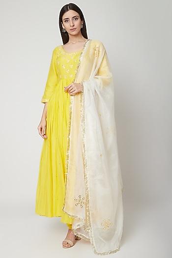 Sunshine Yellow Embroidered & Printed Anarkali Set by Ruchira Nangalia