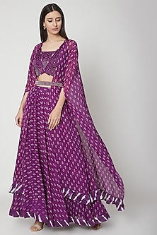 Violet Embroidered & Printed Cape Lehenga Set by Ruchira Nangalia