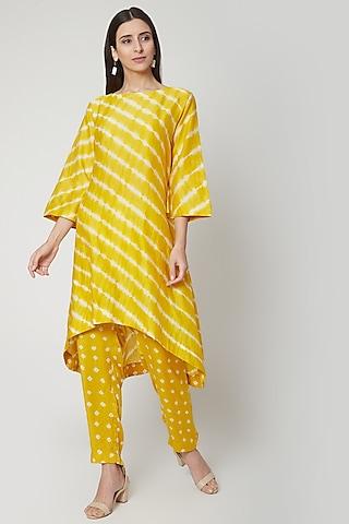 Sunshine Yellow Hand Dyed Kurta With Pants by Ruchira Nangalia