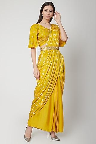 Sunshine Yellow Embroidered & Printed Pre-Stitched Saree Set by Ruchira Nangalia