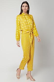 Sunshine Yellow Bandhej Shirt With Pants by Ruchira Nangalia