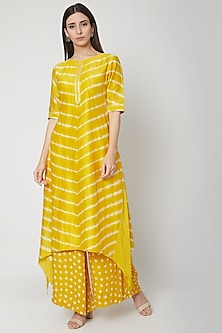 Sunshine Yellow Leheriya Kurta With Pants by Ruchira Nangalia