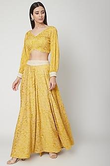 Sunshine Yellow Printed Blouse & Skirt by Ruchira Nangalia