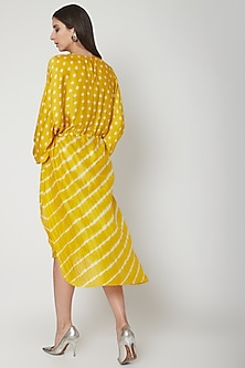 Sunshine Yellow Printed Kaftan Tunic by Ruchira Nangalia