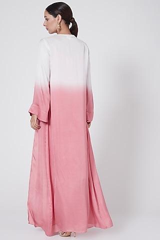 Blush Pink Printed Draped Dress by Ruchira Nangalia