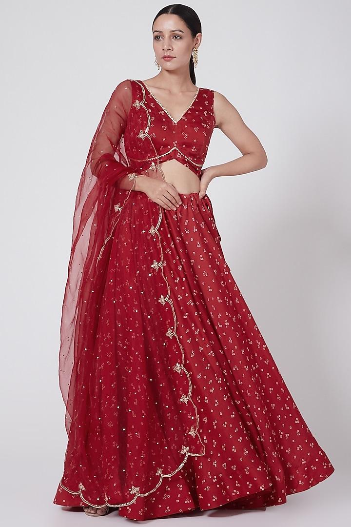 Red Embroidered & Printed Skirt Set by Ruchira Nangalia