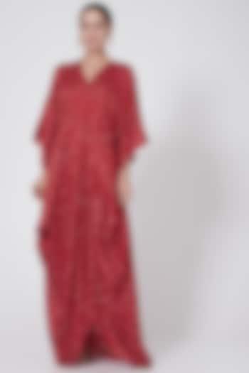 Red Printed Cowl Dress by Ruchira Nangalia