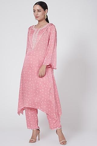 Blush Pink Embroidered & Printed Kurta Set by Ruchira Nangalia