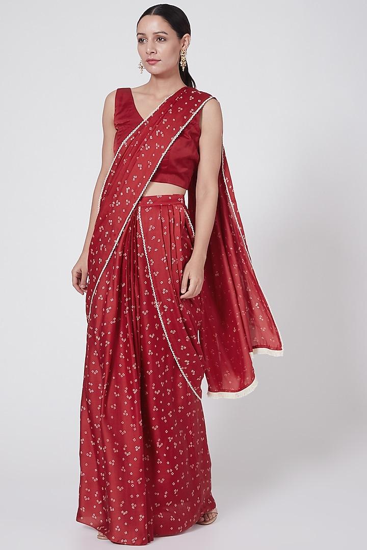 Red Printed Pre-Stitched Saree Set by Ruchira Nangalia