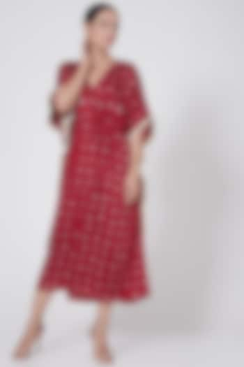 Red Printed Kaftan With Hand Tied Dori by Ruchira Nangalia