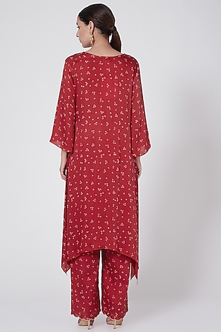 Red Embroidered & Printed Kurta Set by Ruchira Nangalia