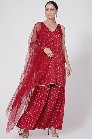 Red Embroidered & Printed Sharara Set by Ruchira Nangalia