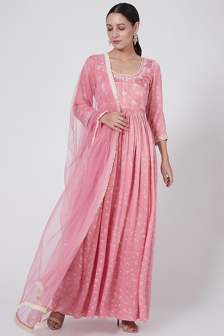 Blush Pink Embroidered & Printed Anarkali Set by Ruchira Nangalia
