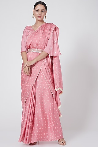 Blush Pink Hand Embroidered & Printed Saree Set by Ruchira Nangalia