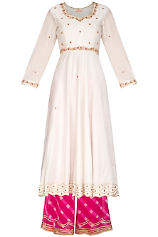 Ivory & Fuchsia Embroidered Kurta Set by Ruchira Nangalia