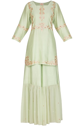 Mint Green Embellished Sharara Set by Ruchira Nangalia