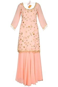 Peach Embroidered Sharara Set by Ruchira Nangalia